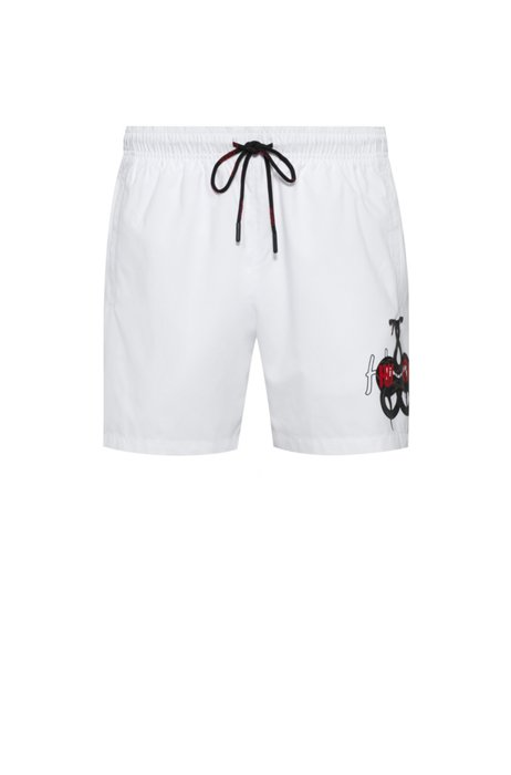 Quick-dry swim shorts with snake artwork and logo, White