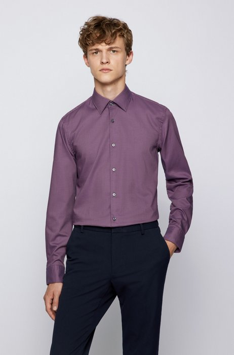 Slim-fit shirt in structured cotton with Kent collar, Purple