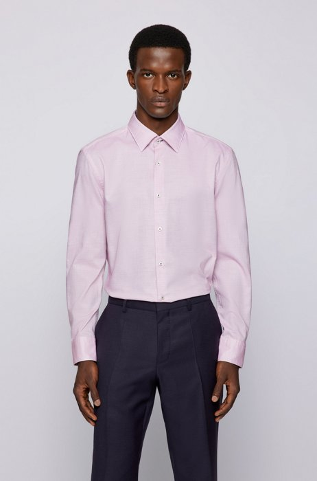 Slim-fit shirt in structured cotton with Kent collar, Pink