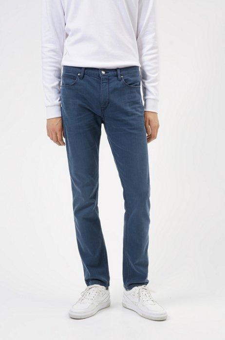 Slim-fit jeans in blue comfort-stretch denim, Dark Blue