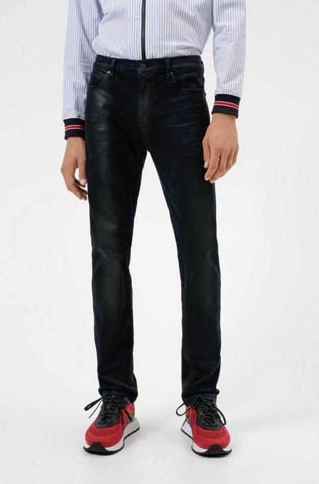 Slim-fit jeans in blue-black comfort-stretch denim, Dark Blue