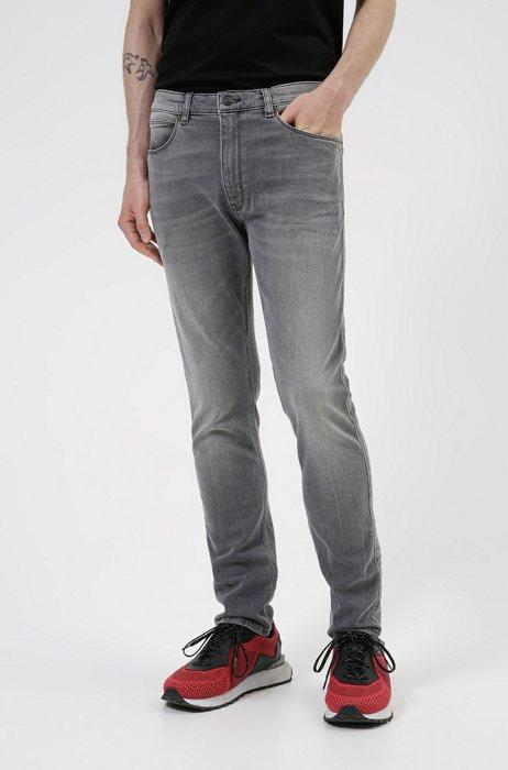 Extra-slim-fit jeans in gray comfort-stretch denim, Grey