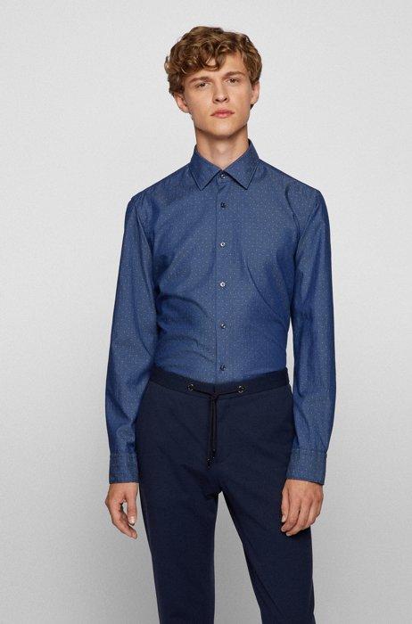 Regular-fit shirt in patterned cotton dobby, Light Blue