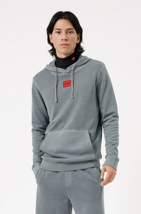 Hooded sweatshirt in cotton with red logo label, Light Blue