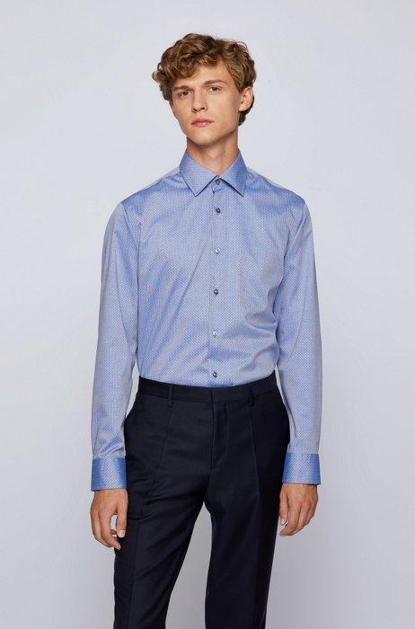 Regular-fit shirt in dot-print crease-resistant cotton, Blue