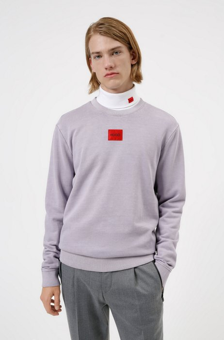 French-terry cotton sweatshirt with red logo label, light pink