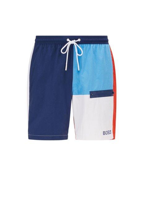 Colour-blocked swim shorts with logo, Dark Blue