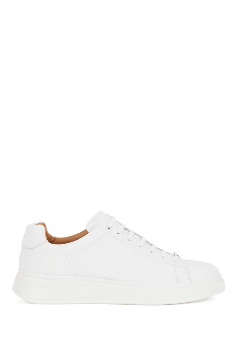 Nappa-leather trainers with branded lace loop, White