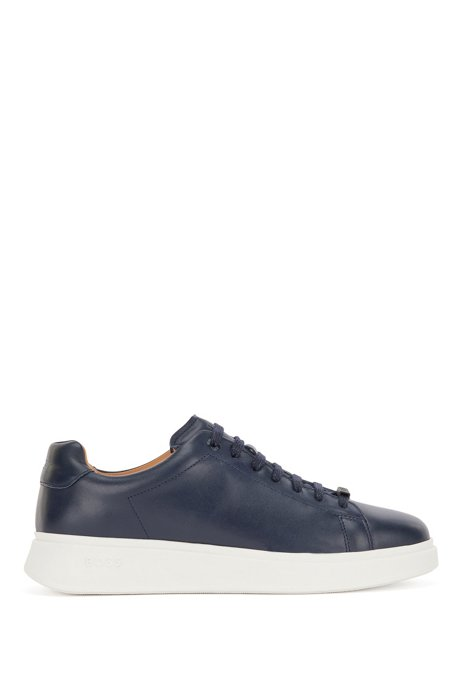 Nappa-leather trainers with branded lace loop, Dark Blue