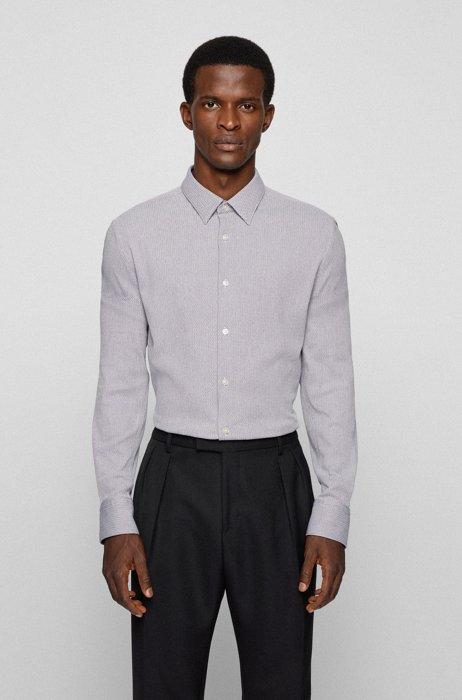 Patterned slim-fit shirt in super-flex fabric, Purple
