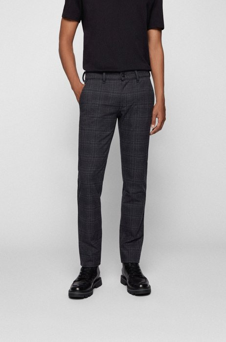 Slim-fit trousers with brushed tonal check, Black