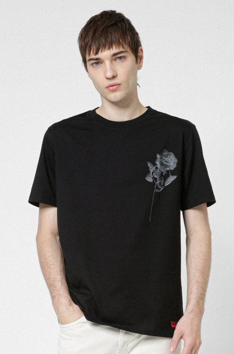 Regular-fit T-shirt in organic cotton with rose print, Black