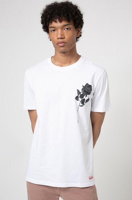 Regular-fit T-shirt in organic cotton with rose print, White