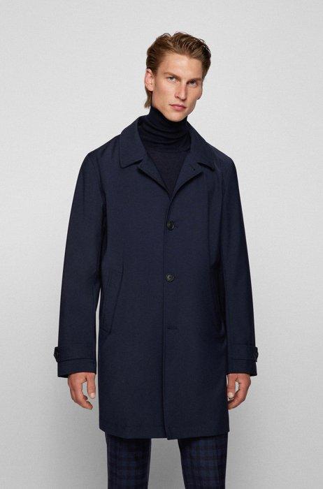 Wool-blend formal coat in a regular fit, Dark Blue