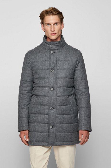 Slim-fit coat in padded virgin wool, Silver