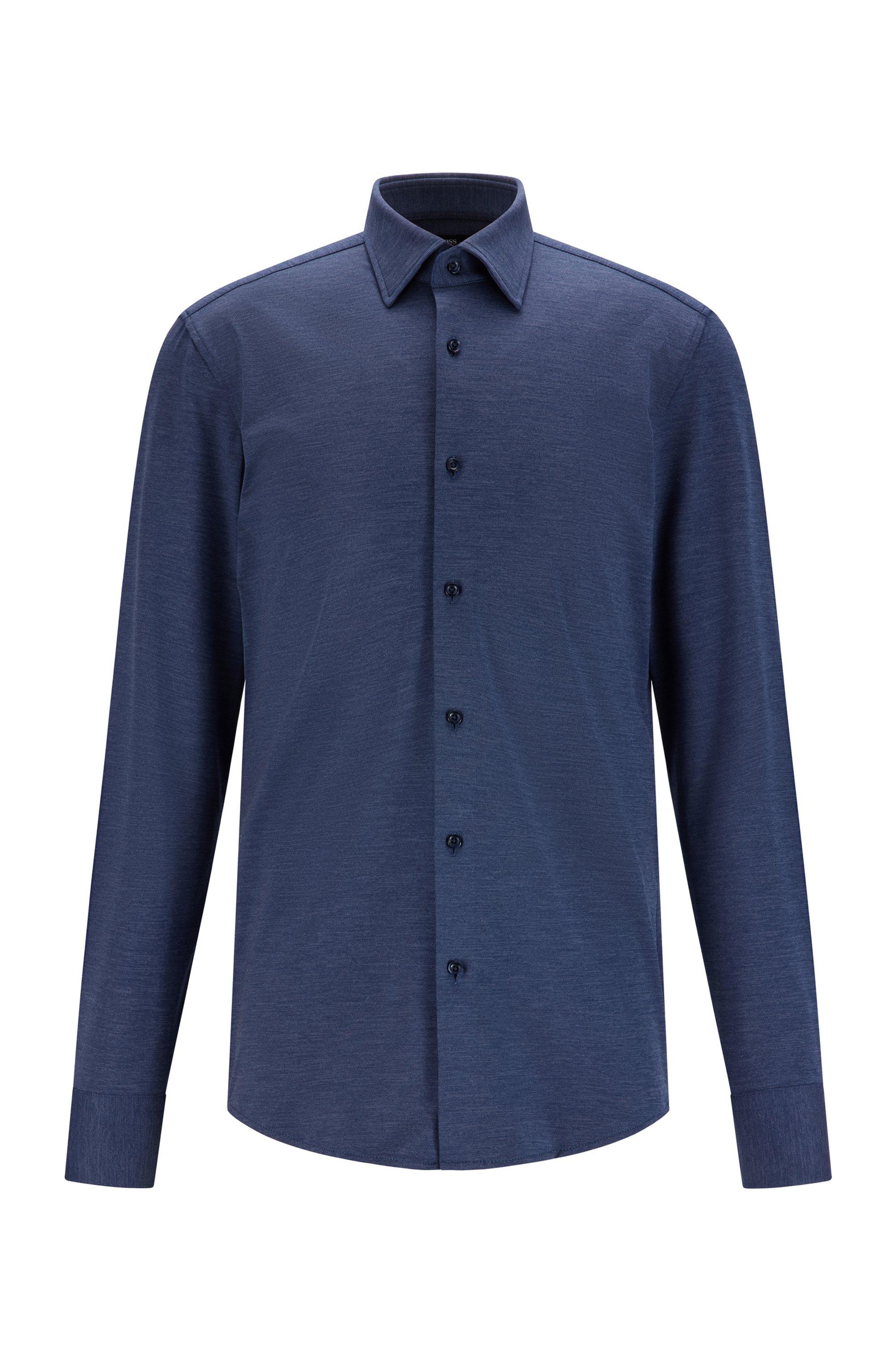 Melange slim-fit shirt in Italian performance-stretch jersey, Light Blue