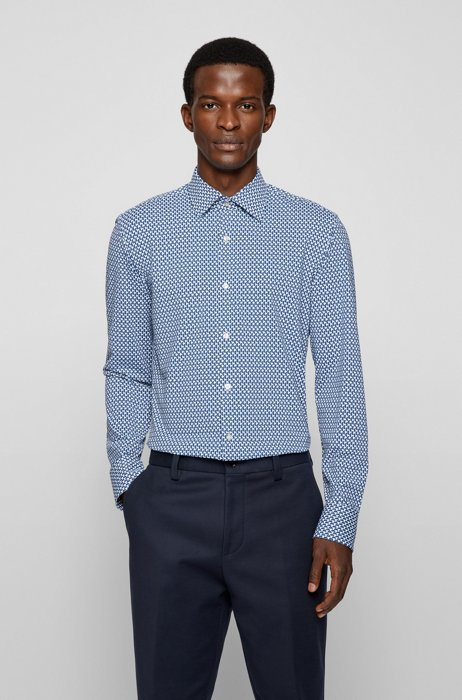 Patterned slim-fit shirt in Italian performance-stretch jersey, Blue