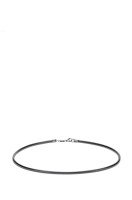 Snake-chain necklace with carabiner closure, Silver