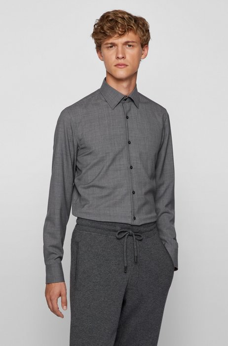 Slim-fit shirt in micro-patterned traceable wool, Grey