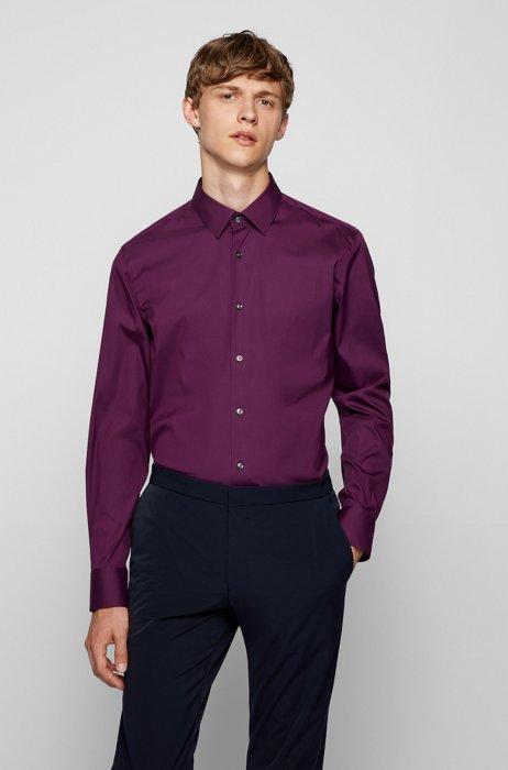 Slim-fit shirt in easy-iron cotton-blend poplin, Purple