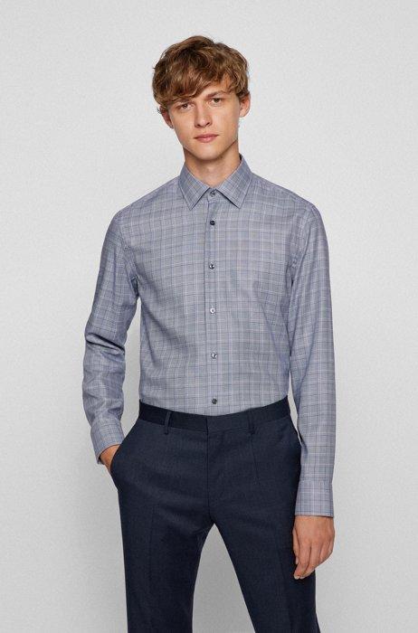 Glencheck slim-fit shirt in cotton-blend twill, Dark Blue