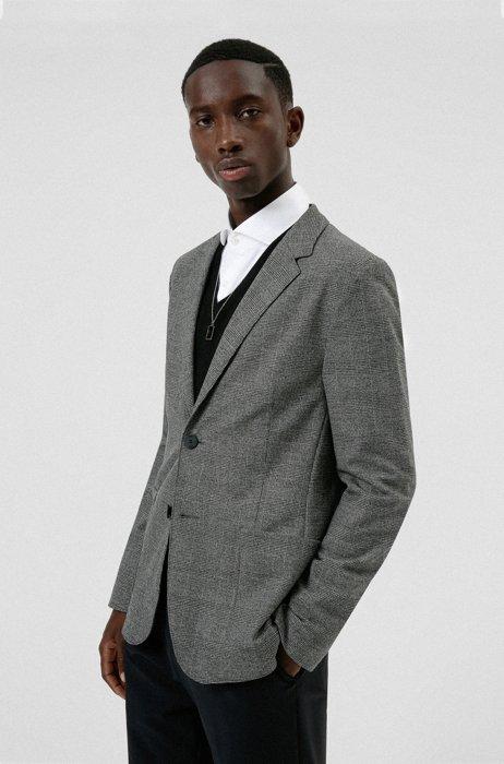 Extra-slim-fit checked jacket in stretch fabric, Dark Grey