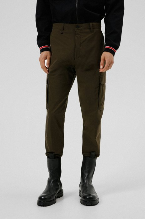 Cuffed slim-fit cargo pants in performance fabric, Dark Green