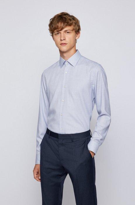 Slim-fit shirt in micro-structured cotton-blend twill, Dark Blue