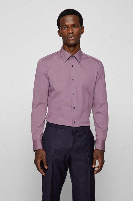 Slim-fit shirt in cotton-blend poplin, Purple