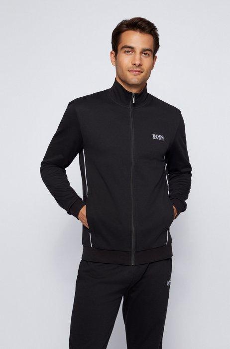 Logo loungewear jacket in cotton-blend piqué, Black