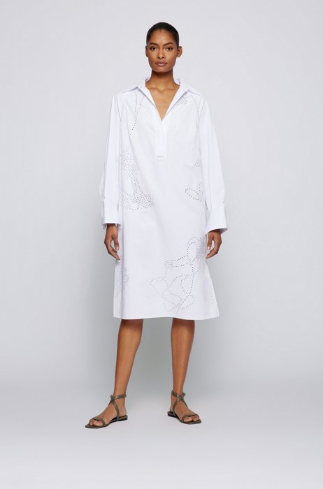 Oversized-fit embellished dress in cotton and linen, White