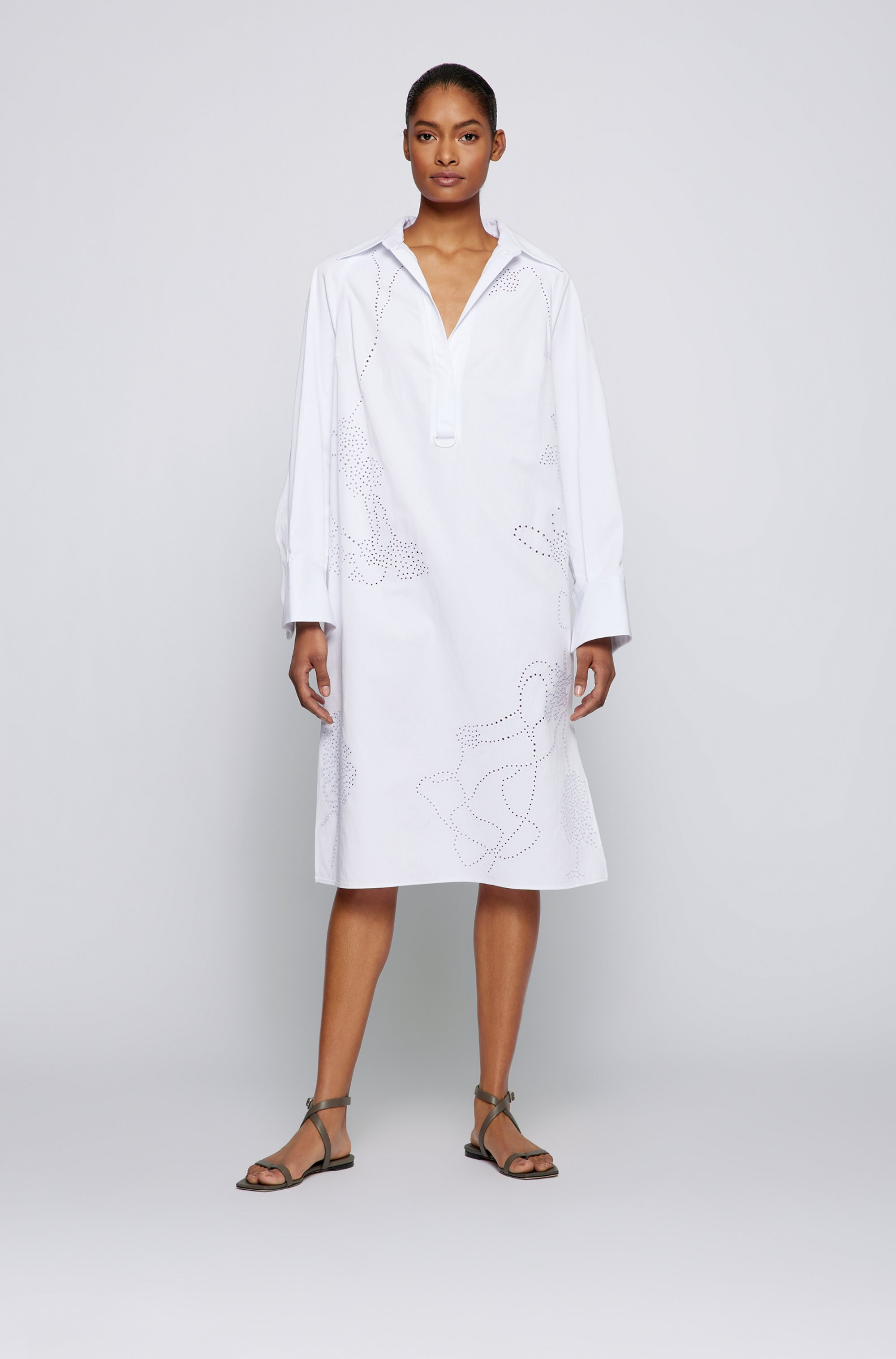Oversized-fit embellished dress in cotton and linen