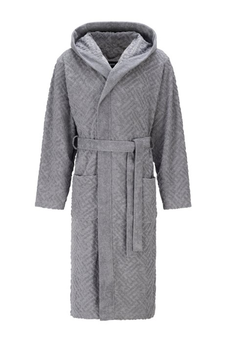 Cotton-blend belted dressing gown with monogram pattern, Grey
