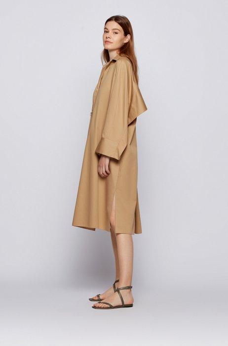 Robe Oversized Fit en coton avec finitions en cascade, Brun chiné