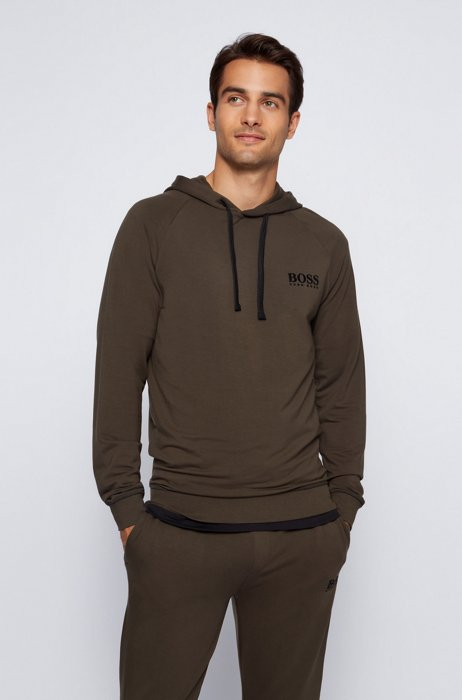 Logo hooded sweatshirt in regular fit with TENCEL™ Lyocell, Light Green