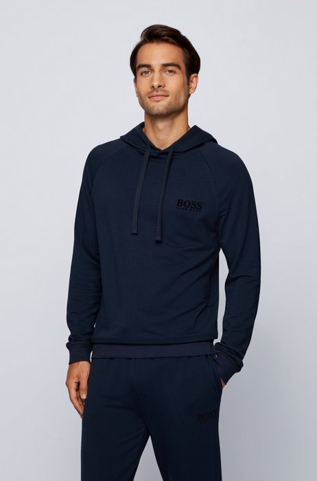 Logo hooded sweatshirt in regular fit with TENCEL™ Lyocell, Dark Blue