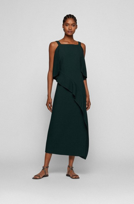 Slim-fit dress with volant trim, Light Green