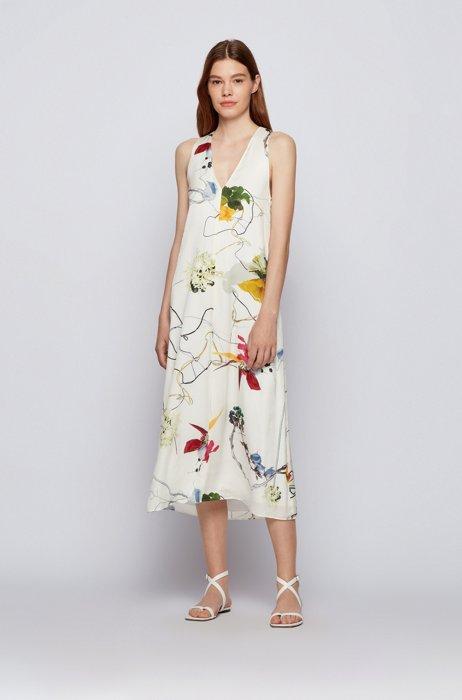 Floral-print V-neck dress in silk-blend crepe georgette, Patterned