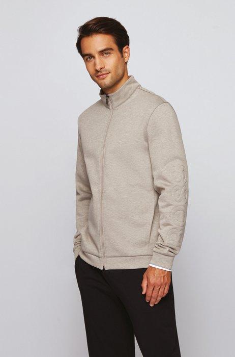 Cotton-blend loungewear jacket with padded logo, Light Beige