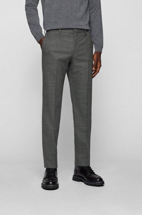 Slim-fit pants in a micro-patterned wool blend, Grey