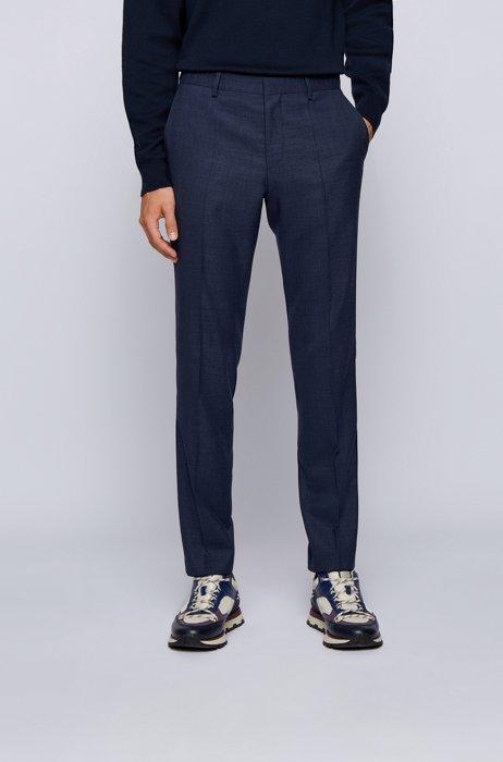 Slim-fit pants in a micro-patterned wool blend, Dark Blue
