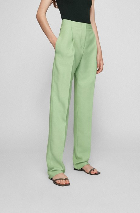 Extra-long regular-fit pants with high-rise waistband, Light Green