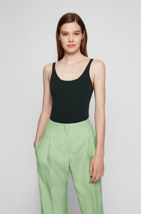 Slim-fit undershirt in a ribbed knit, Light Green