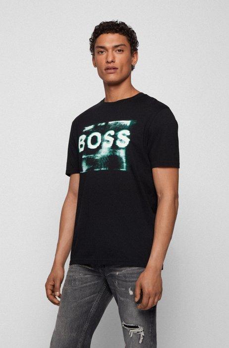Mixed-print logo T-shirt in washed Pima cotton, Black