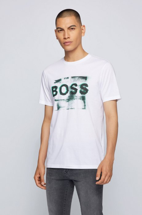 Mixed-print logo T-shirt in washed Pima cotton, White