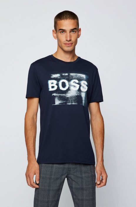Mixed-print logo T-shirt in washed Pima cotton, Dark Blue