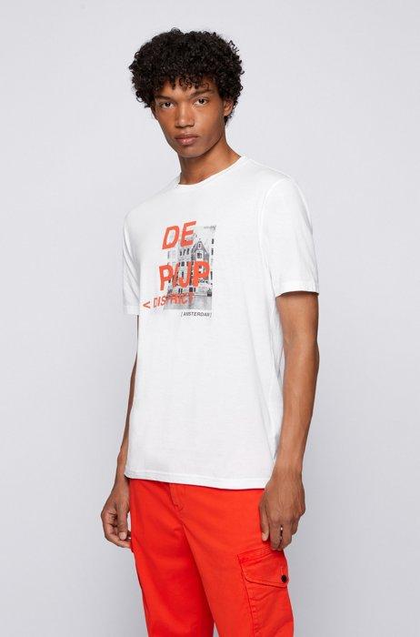 Pima-cotton T-shirt with city artwork and logo, White