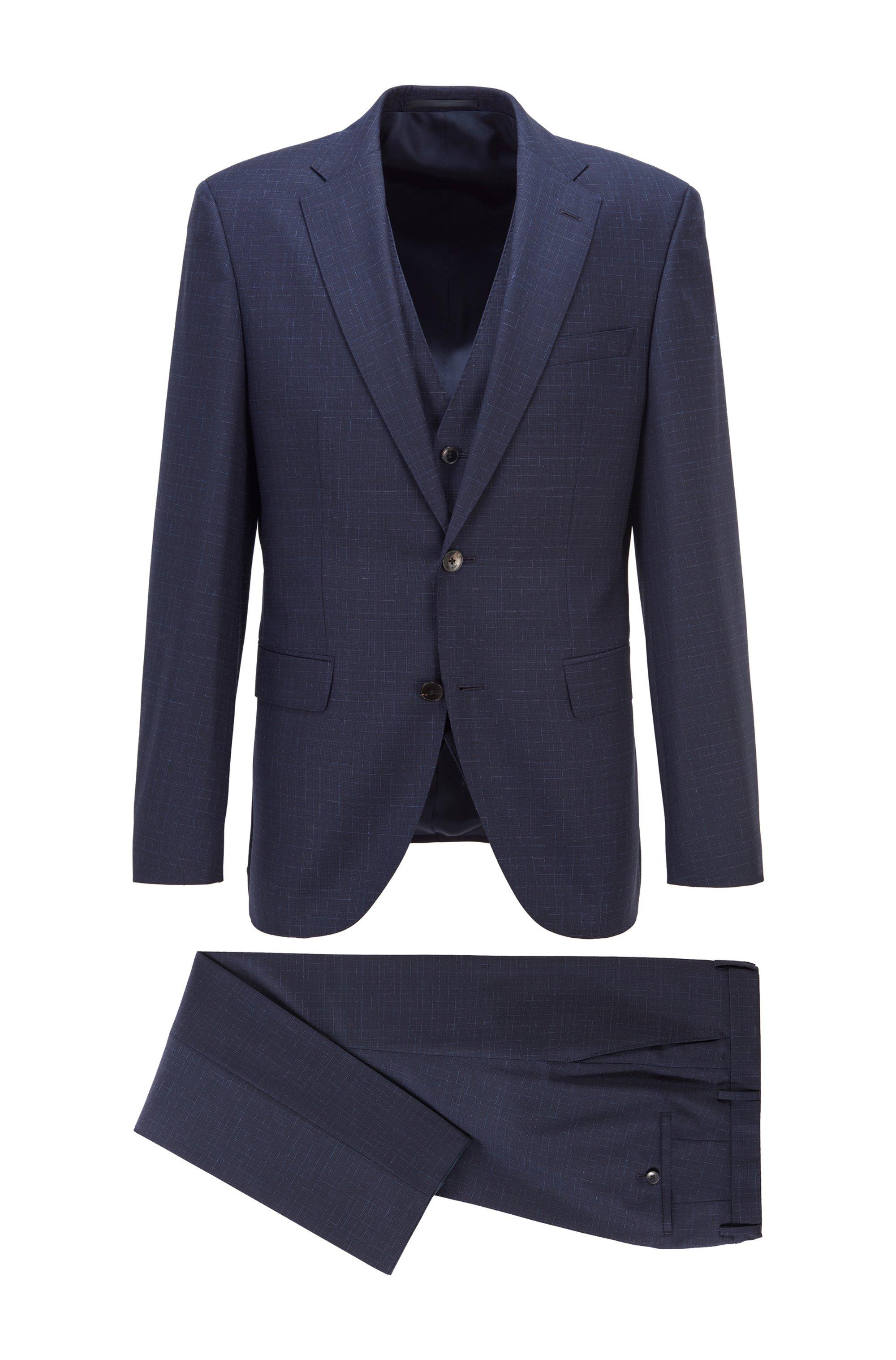 Three-piece regular-fit suit in patterned virgin wool, Dark Blue