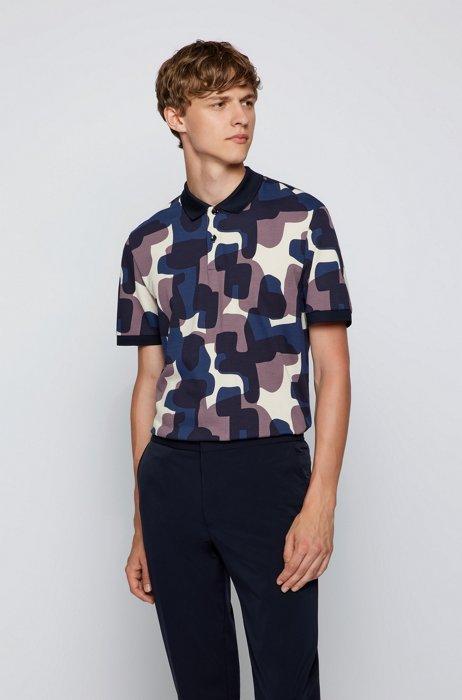 Cotton-piqué polo shirt with camouflage print, Dark Blue