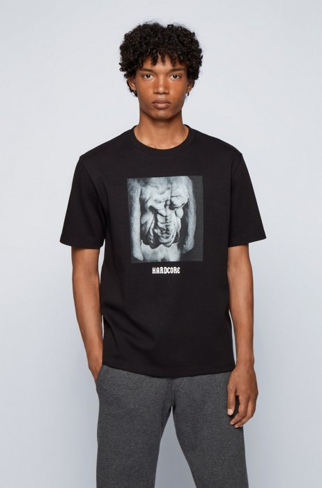 Relaxed-fit T-shirt in cotton with animal photo print, Black
